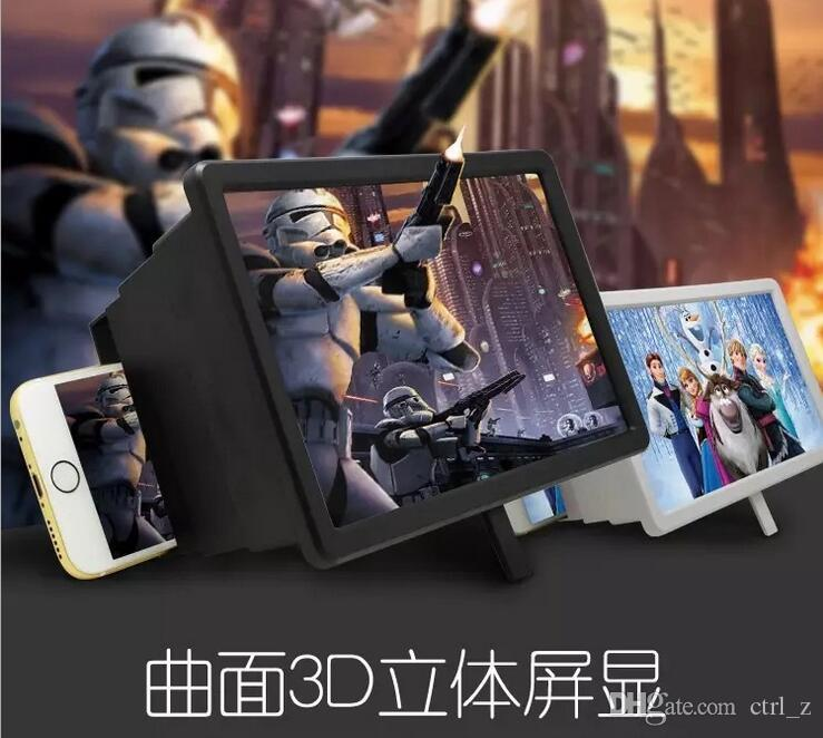 F2 Enlarged Screen Amplifier Magnifier 3D Glass Vedio Folding Portable Bracket Magic Box for Universal Mobile Cell Phone iPhone 7