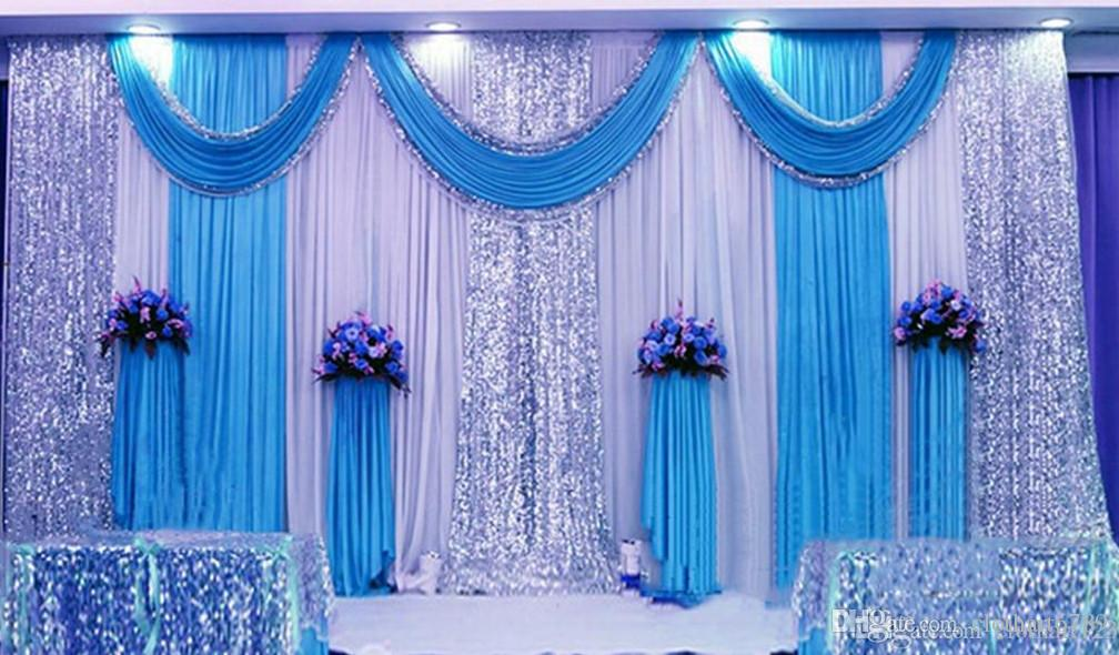 3 6m 10ft 20ft Wedding Curtain Backdrops With Sequins Swag