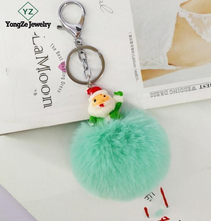 Christmas Santa Claus Keychain Deroration Fur Ball Hang Pendant Bag Car Keyring Accessory for Women Imitate Rabbit Hair Ball Ornaments