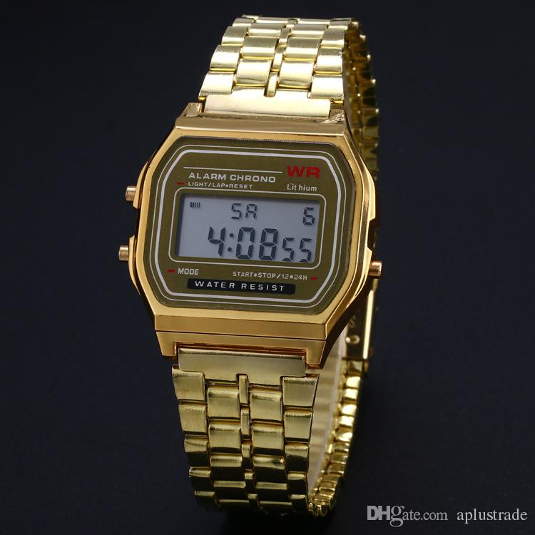 Digital Retro F-91W watches Fashion Ultra-thin LED Wrist Watches F91W Gold Rose-Gold Silver Men Women Sport Watches