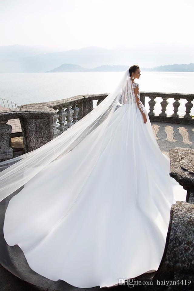 2017 Nova Milla Nova Uma Linha De Vestidos De Noiva Ilusão Mangas Compridas Lace Apliques Frisado Sheer Voltar Trem Tribunal Plus Size Formais Vestidos De Noiva