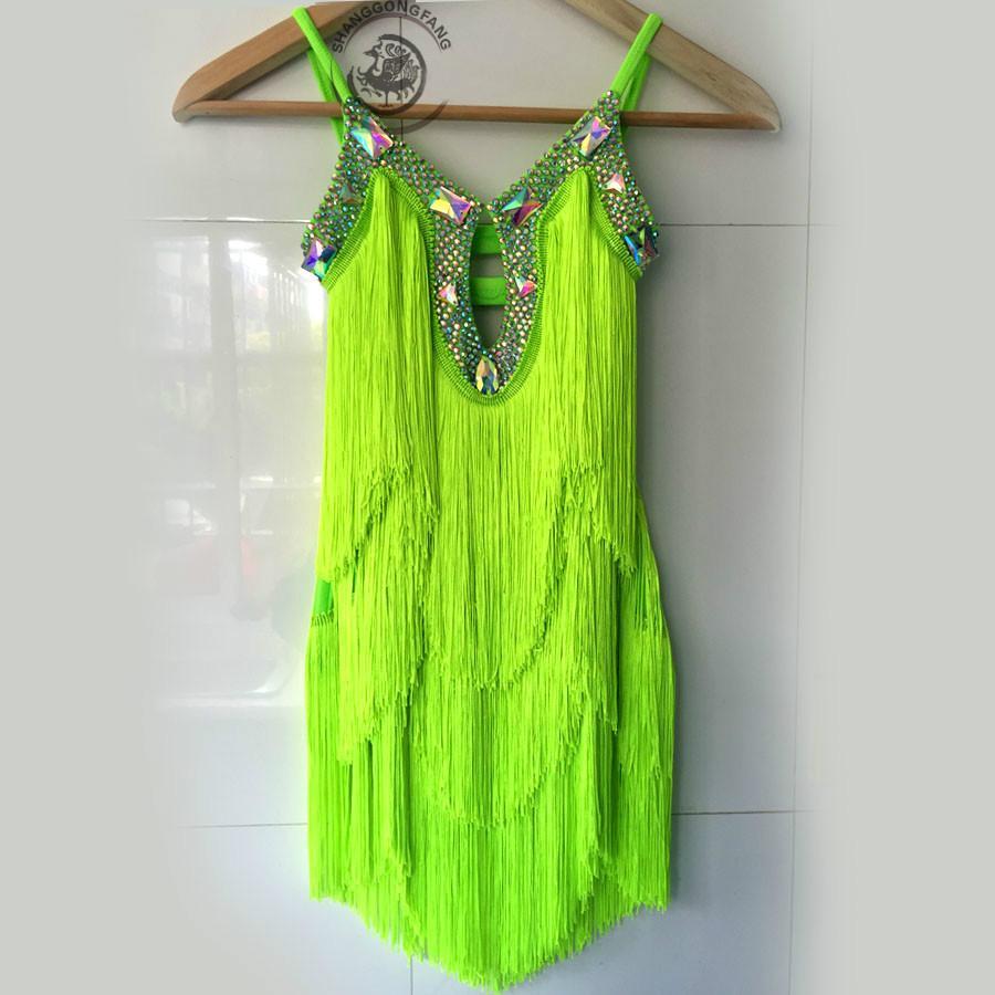Custom Adulto / Niño traje de baile latino es borla salón de baile latino competencia competencia vestido para mujer niño vestidos de baile latino S-4XL