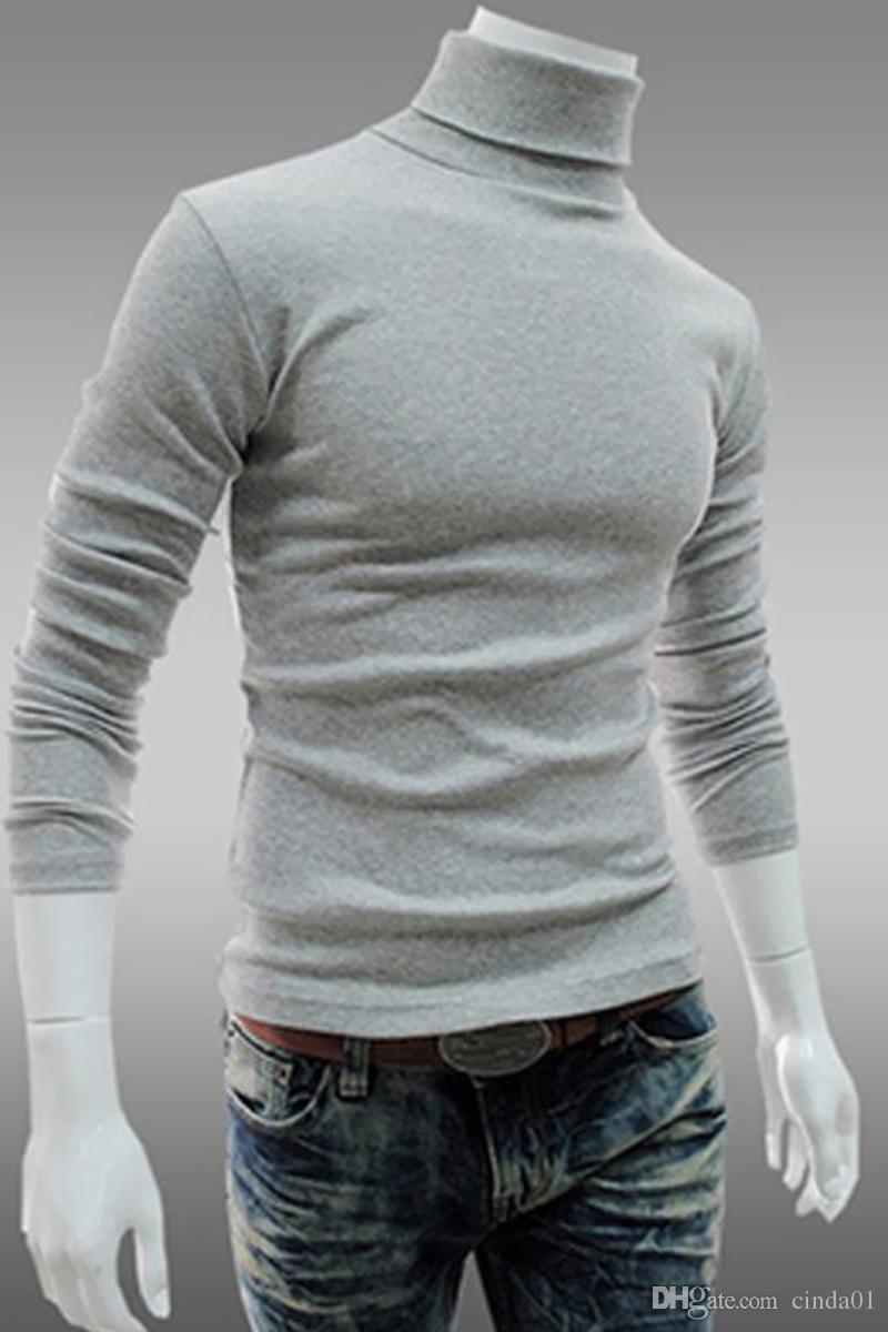 Uomini Bottoming Top Autunno Maglioni Slim Autunno caldo Dolcevita maglioni neri Pullover Abbigliamento Uomo Maglione lavorato a maglia in cotone Maglioni maschili