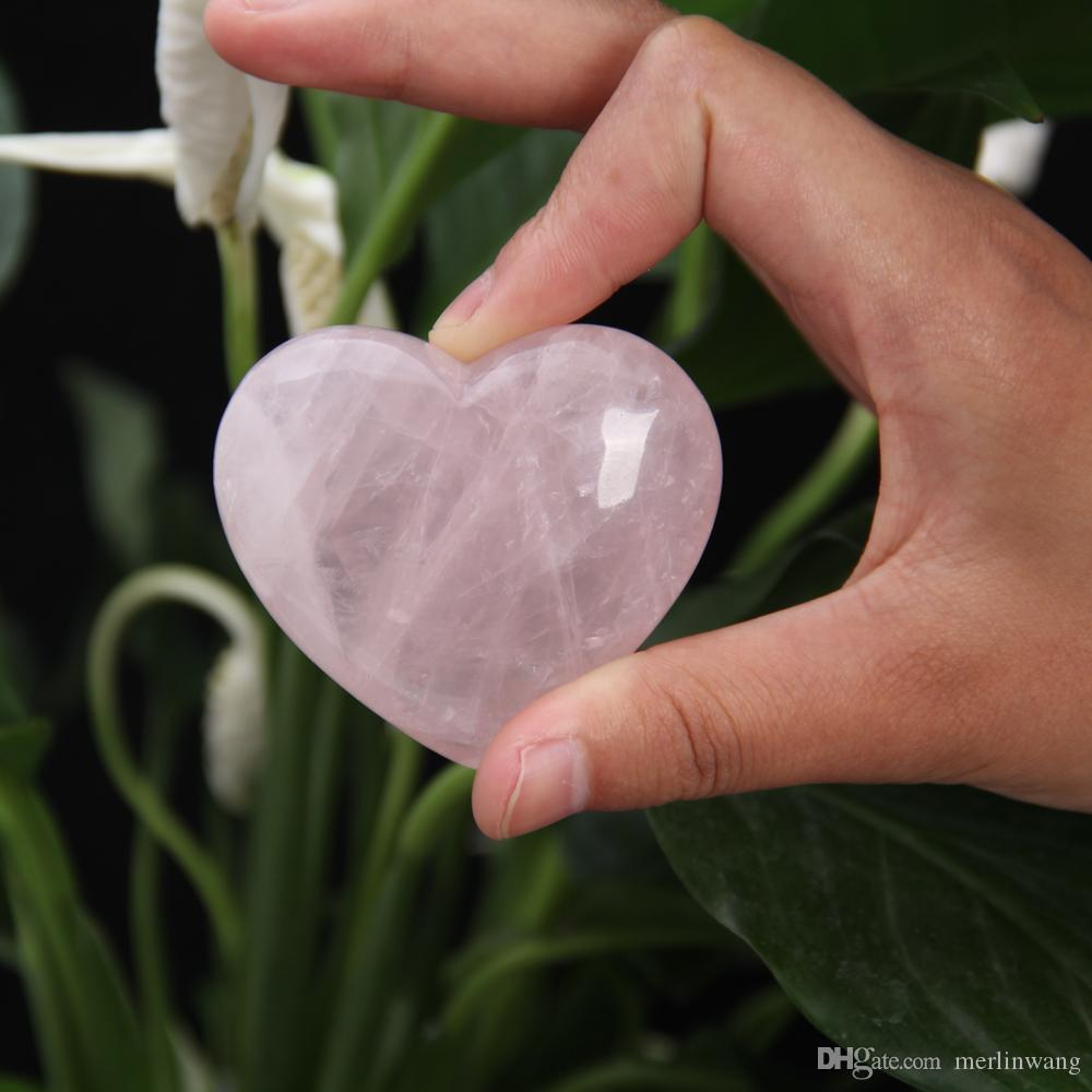 HJT 1.8inch Quartz rose crystal Heart Carving Craft Stone Chakra Healing Reiki Stones Lover gife stone crystal Heart