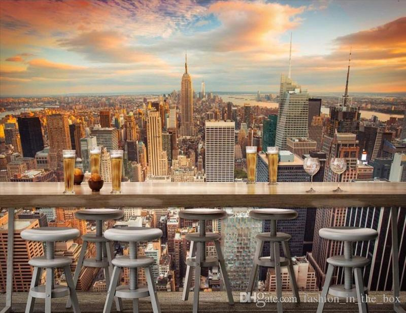 Großhandel Manhattan 3D Tapete New York City Fototapete Städtische Nacht  Fototapete Schlafzimmer TV Sofa Hintergrund Landschaft Zimmer Dekor Bett  Papier ...