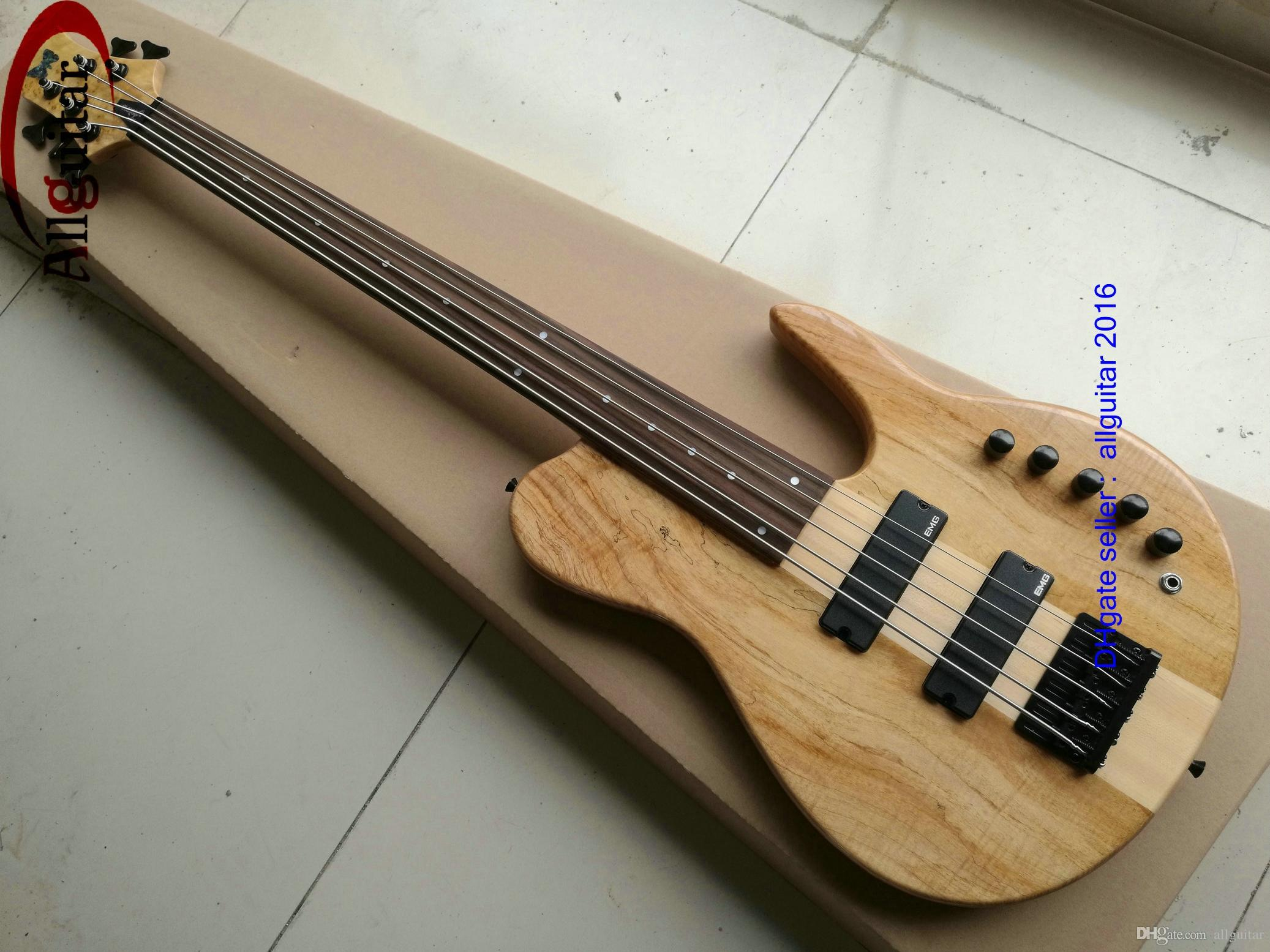 2016 new 5 strings bass fretless bbumm one piece guitar neck natural fretless bass2 active. Black Bedroom Furniture Sets. Home Design Ideas