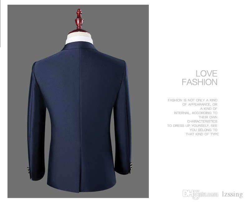 New Royal Blue Coat Pant Men Suit Design Wedding Suits 2-piece jacket + Pants Business Set L-8627