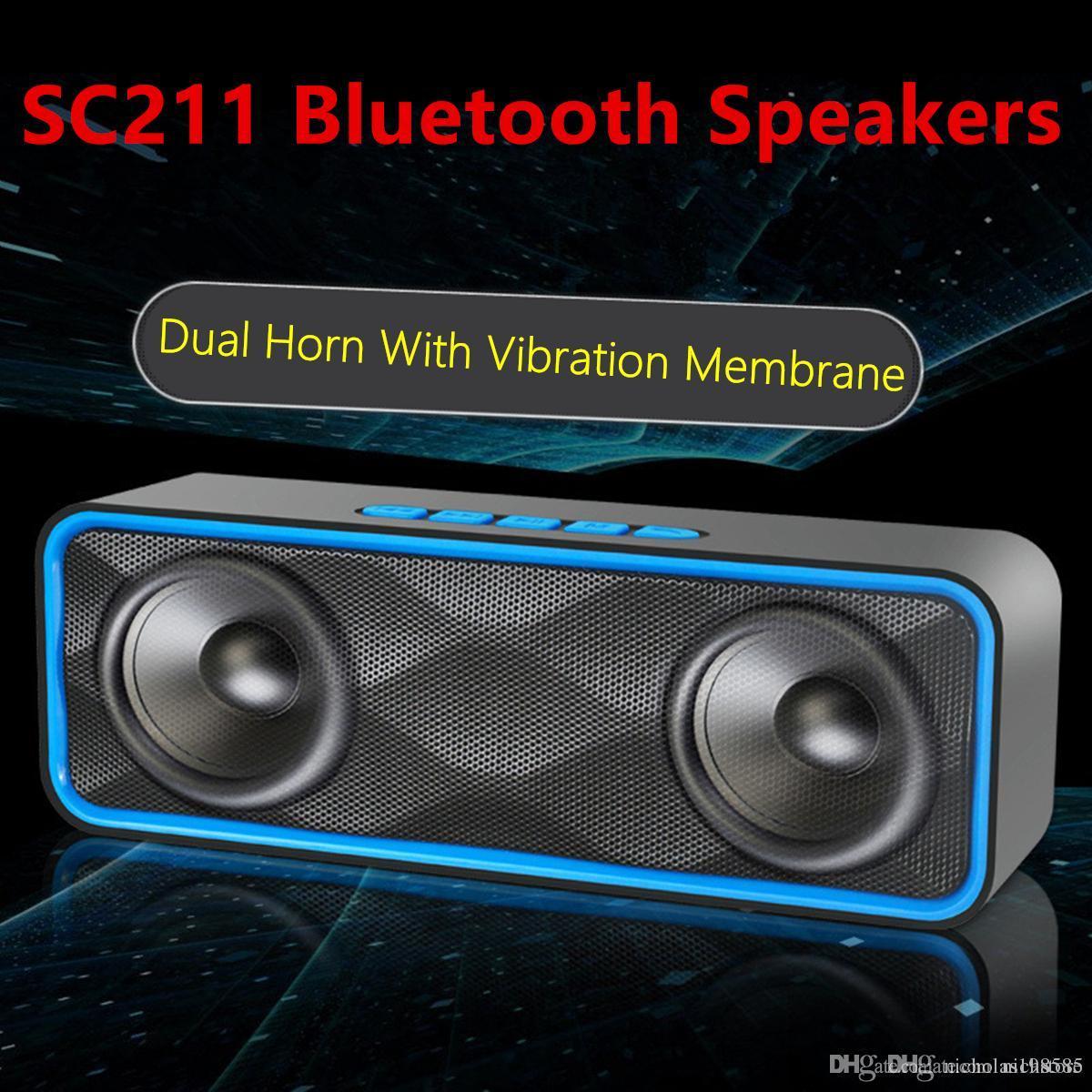 SC211 Bluetooth Speaker Wireless Dual Speakers Bluetooth Hands Free Car  Subwoofer Built In Mic Portable Stereo Surround TF Card Mini Speaker Mini  Speaker ...