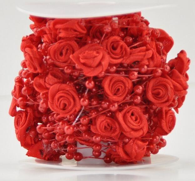 20Meter 12mm&4mm Handmade Rose Flower Pearl Bead Garland Hair Stying Wedding Decoration Craft DIY