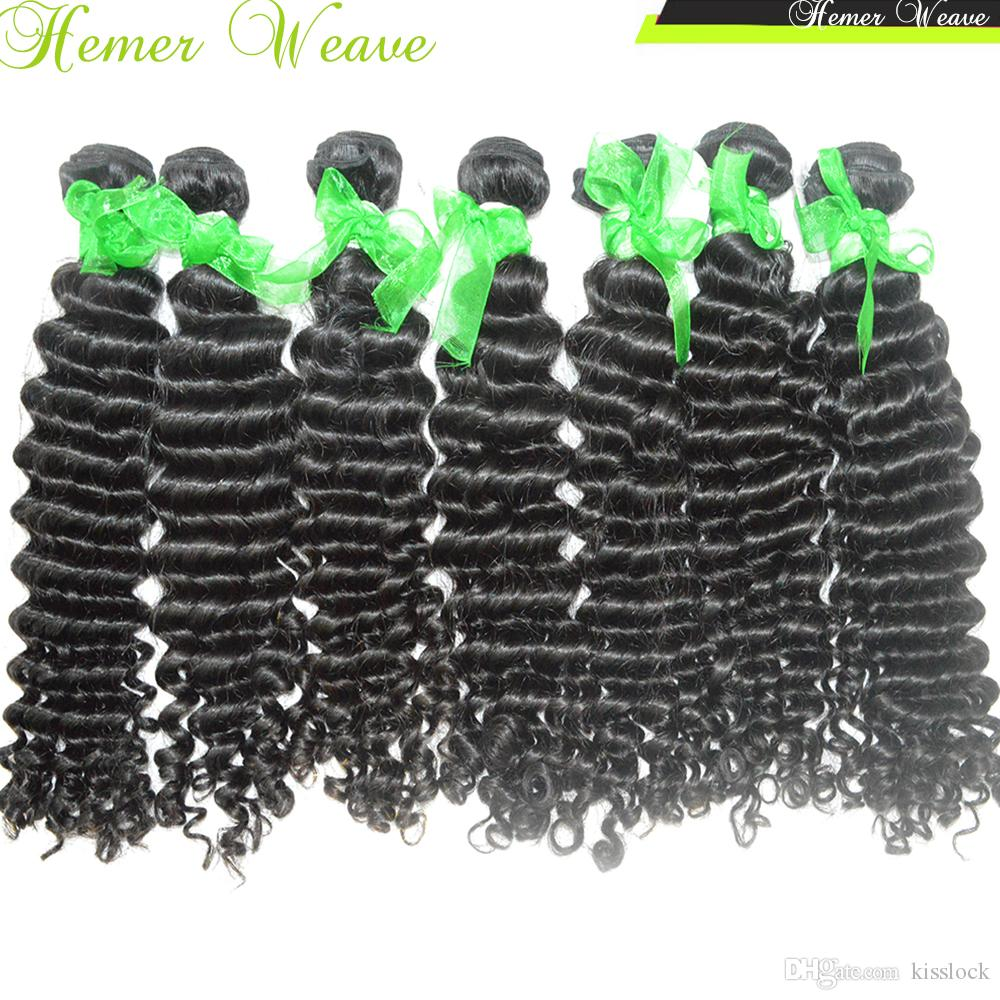 Cheap Indian Virgin Deep Wave Curly Hairs Best 8A Natural Weave Fast DHL shipping