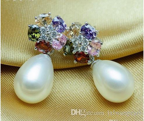 neueste Wassertropfen natürliche 8-9mm Perlenohrring 925 Silber überzogene baumeln Ohrringe bunte Kristall Blume Süßwasser kultiviert