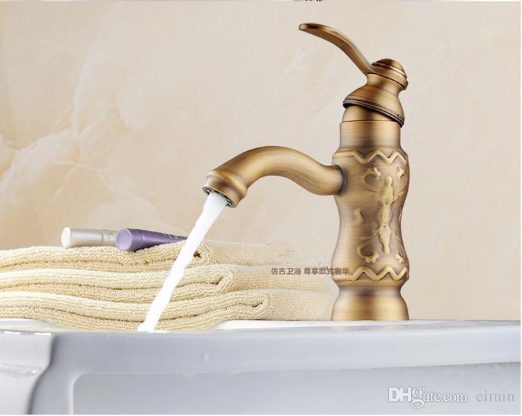 Toptan ve perakende ücretsiz kargo Bakır havza musluk Mutfak banyo musluk soğuk musluk Tek delik Oyma mobilya Oyma musluk
