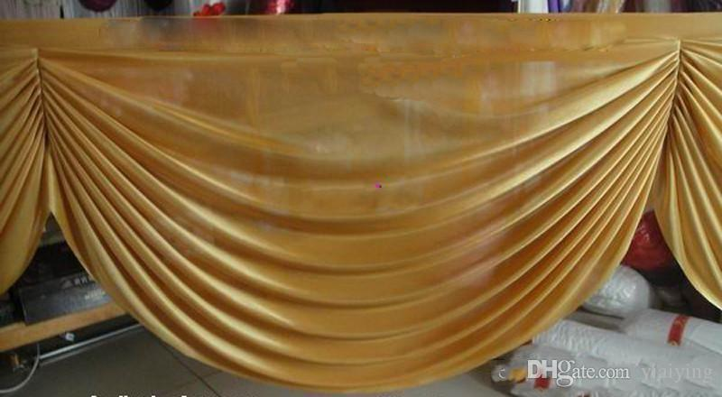 6 M uzun Altın buz ipek perde düğün arka planında düğün parti olay dekorasyon malzemeleri için swags