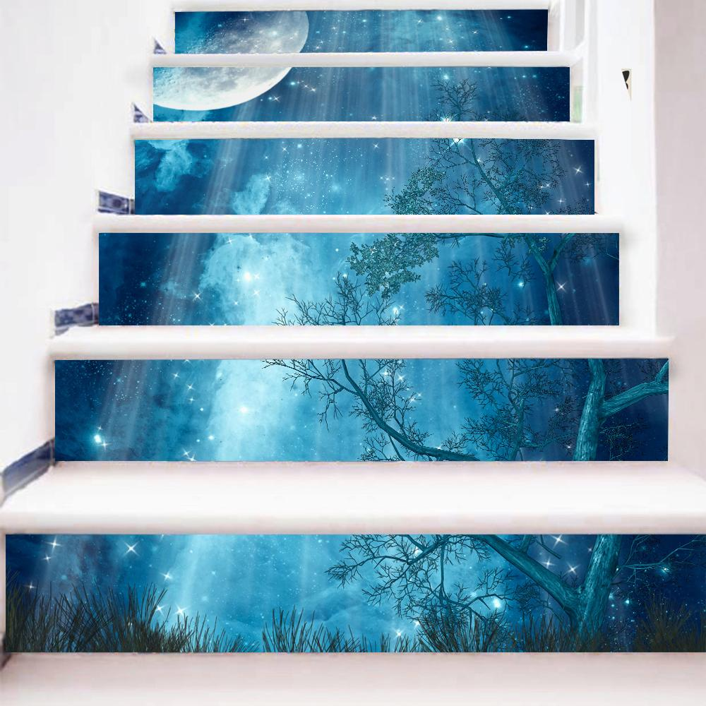 New Creative Forest Moonlight Diy Steps Sticker Removable Stair ...