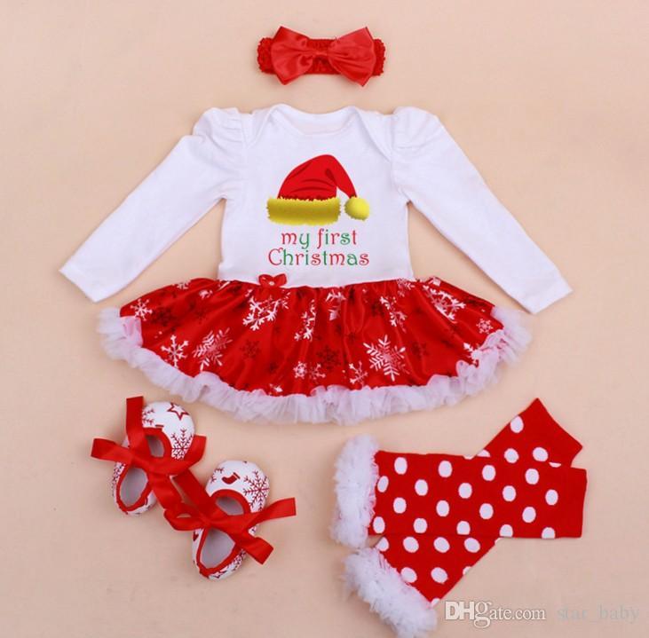 Christmas Baby Girl Rompers Dress + Headband + Shoes + Leg Warmer Children Boy Girl Crochet Waem Long Sleeve Rompers Baby Clothes K8224