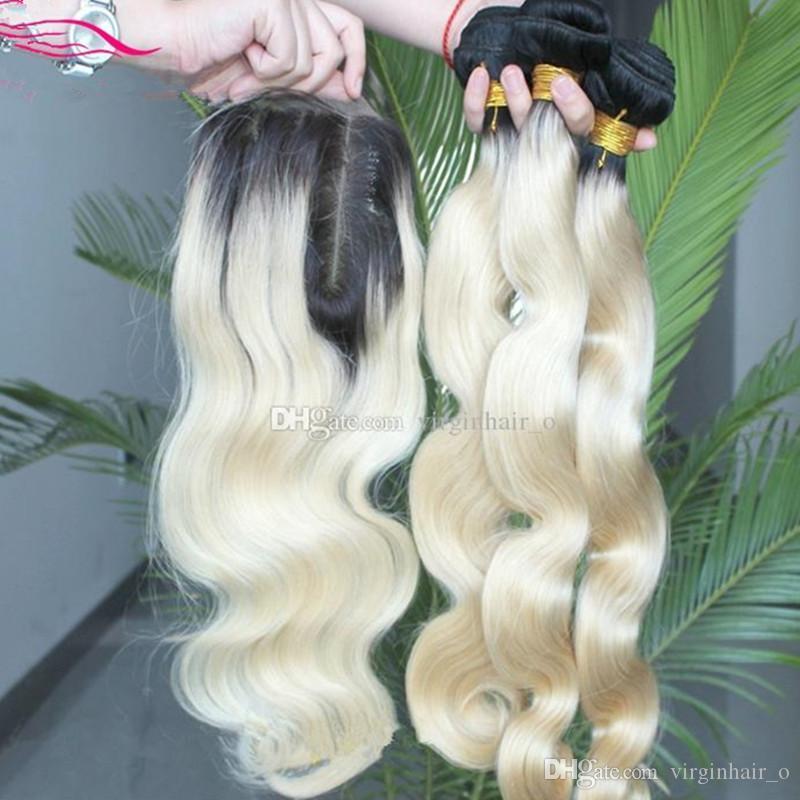 Customize 1b 613 Dark Roots Platinum Blonde Ombre Body Wave