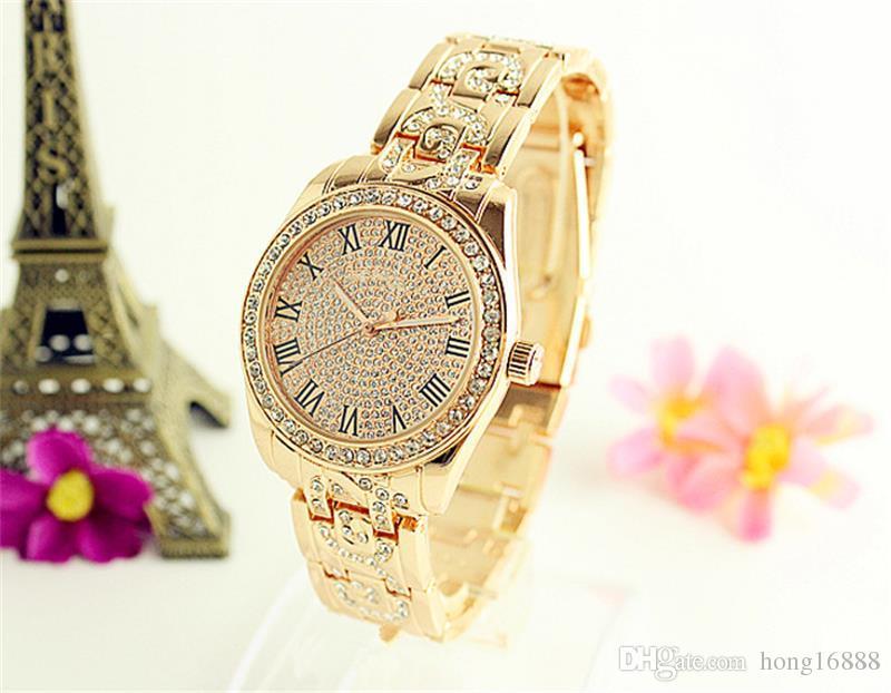 9df896bb96b5 Compre Reloj De Mujer Marcas Famosas Relojes De Acero Inoxidable Mujer  Números Romanos Relojes De Negocios Relojes De Cuarzo Venta Al Por Mayor  Envío ...
