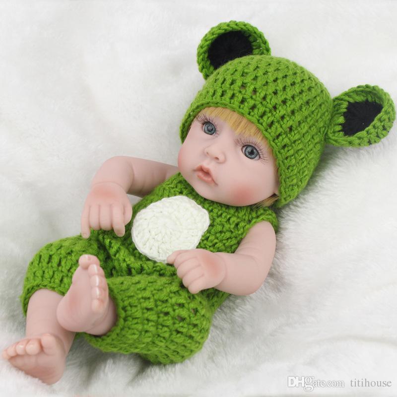 10 inch Mini Full Silicone baby Reborn Baby Boy Dolls Soft Body Drink Doll Realistic Toys Bath Playmate Newborn juguetes