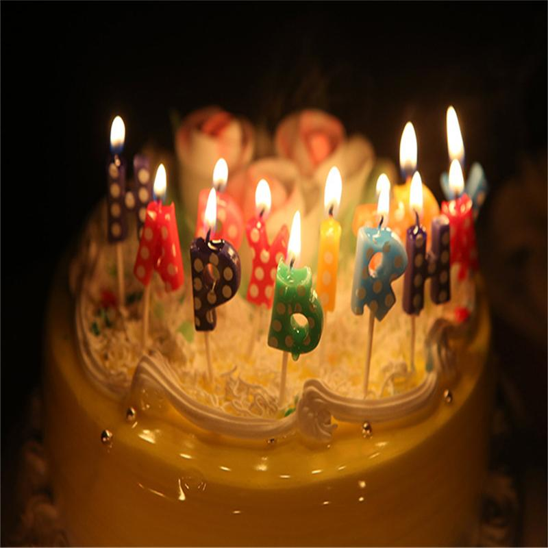 Novelty Cute Happy Birthday Letters Candle Colorful Non Toxic Cake