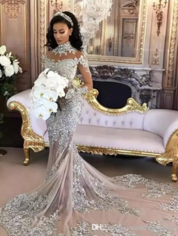 Luxury 2019 Wedding Dress Sexy Sheer Bling Beaded Lace Applique High Neck Illusion Long Sleeve Champagne Mermaid Bridal Gowns Chapel Train