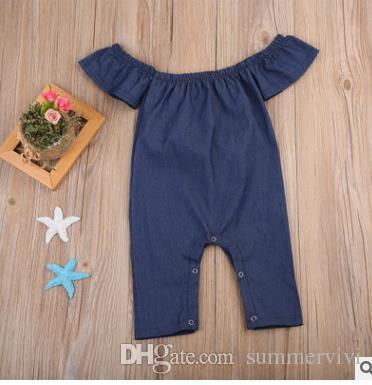 INS baby boys girls rompers Toddler kids fly sleeve rompers cute Infants Denim Jumpsuits Autumn newborn dew shouldler onesie G1541