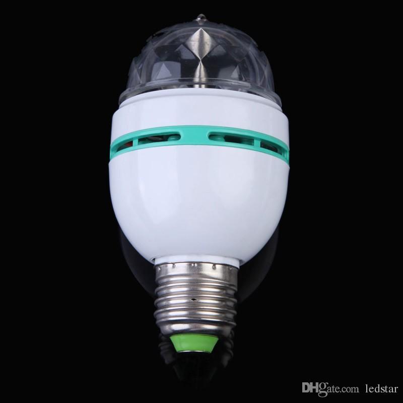LED المصابيح اللون الكامل 3 واط RGB E27 led كريستال المرحلة ضوء السيارات الدورية مصباح AC85-265V الليزر ديسكو dj حزب عطلة الرقص لمبة