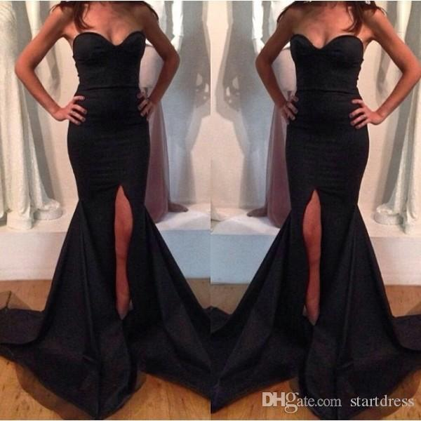 Simple Black Mermaid Evening Gown Elegant Sweetheart Sweep Train Long Formal Party Dresses Sexy Split Prom Dresses Cheap Evening Dresses