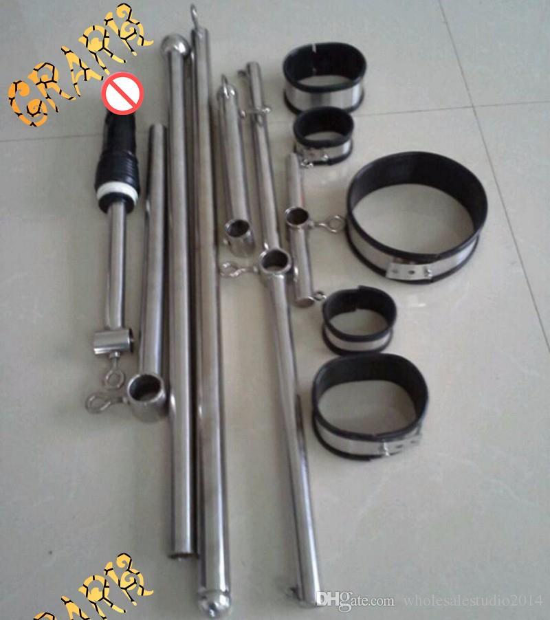 Top stainless steel torture devices frame fetish slave neck collar hand leg ankle cuffs bondage restraints sex games sm toys