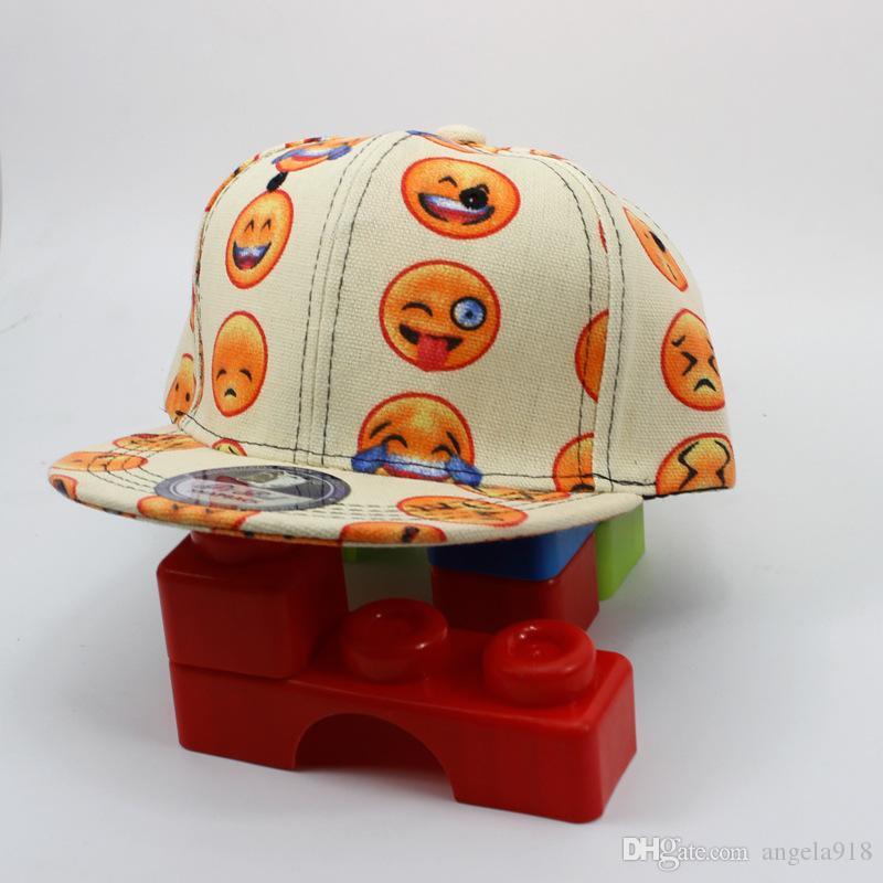 2016 Nueva caricatura QQ Emoji patrón tapas niños gorra de béisbol plana a lo largo Parental hip hop Emoji patrón sombreros C337