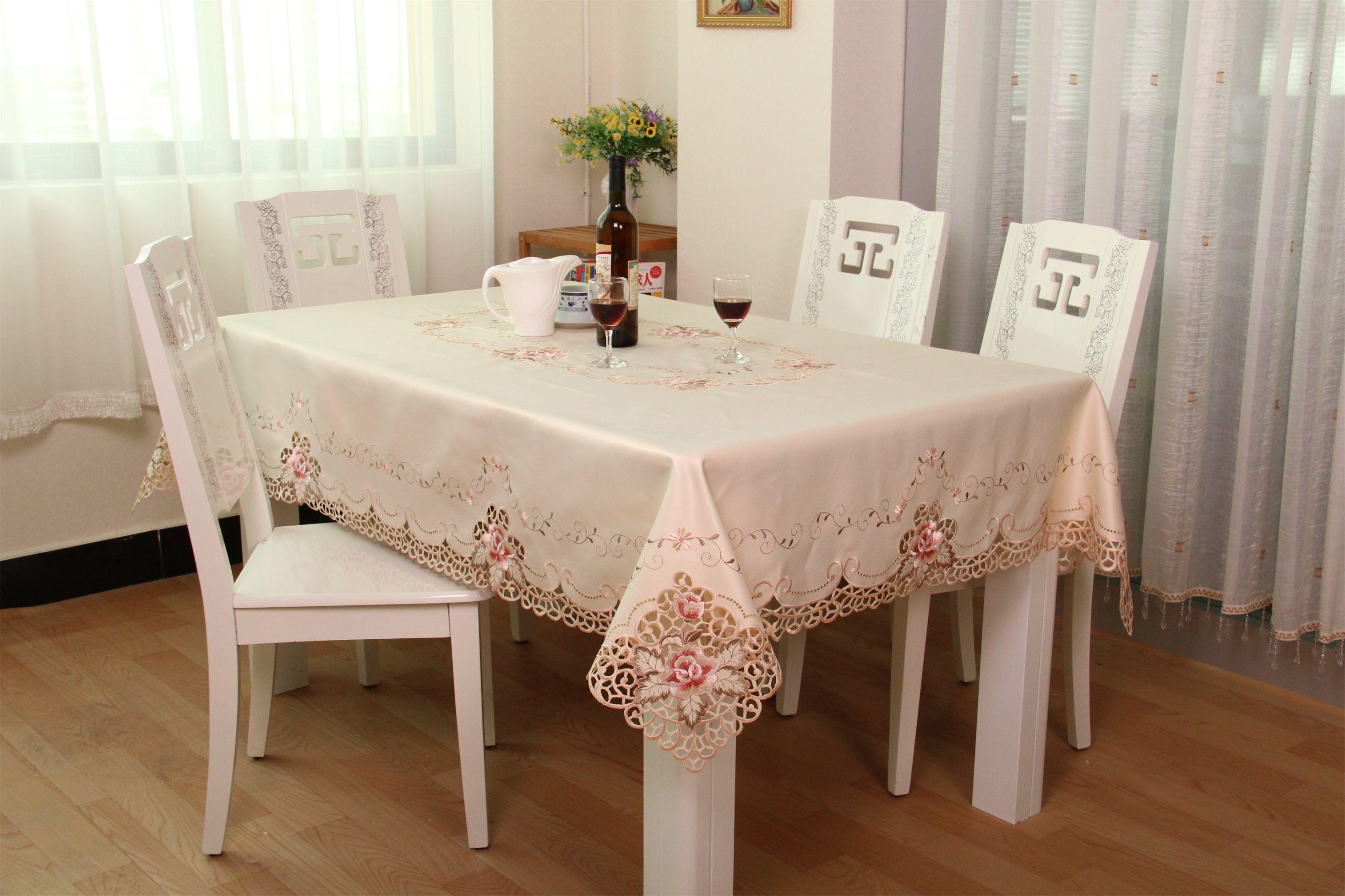... Retangular Embroidered Tablecloth High Quality Handmade Table Cover  White Round Tablecloth Toalha De Mesa Retangular Tablecloths For Weddings Linen  Like ...