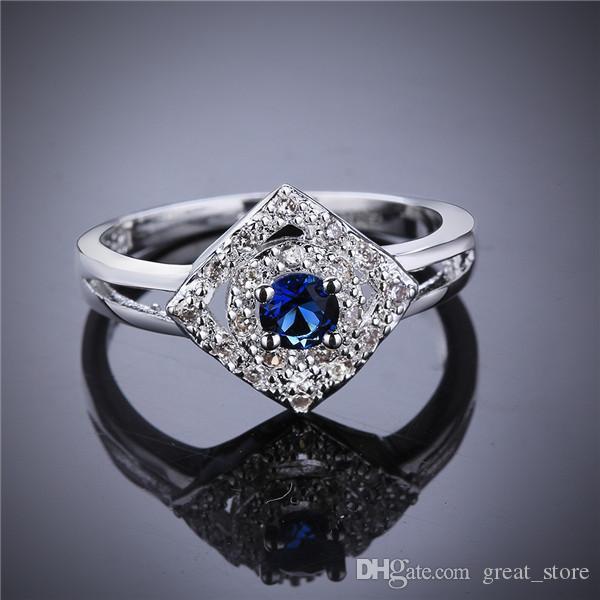 925 anel de prata em forma de coração em forma de anel de safira GSSR566 Venda direta de fábrica moda esterlina de dedo de prata