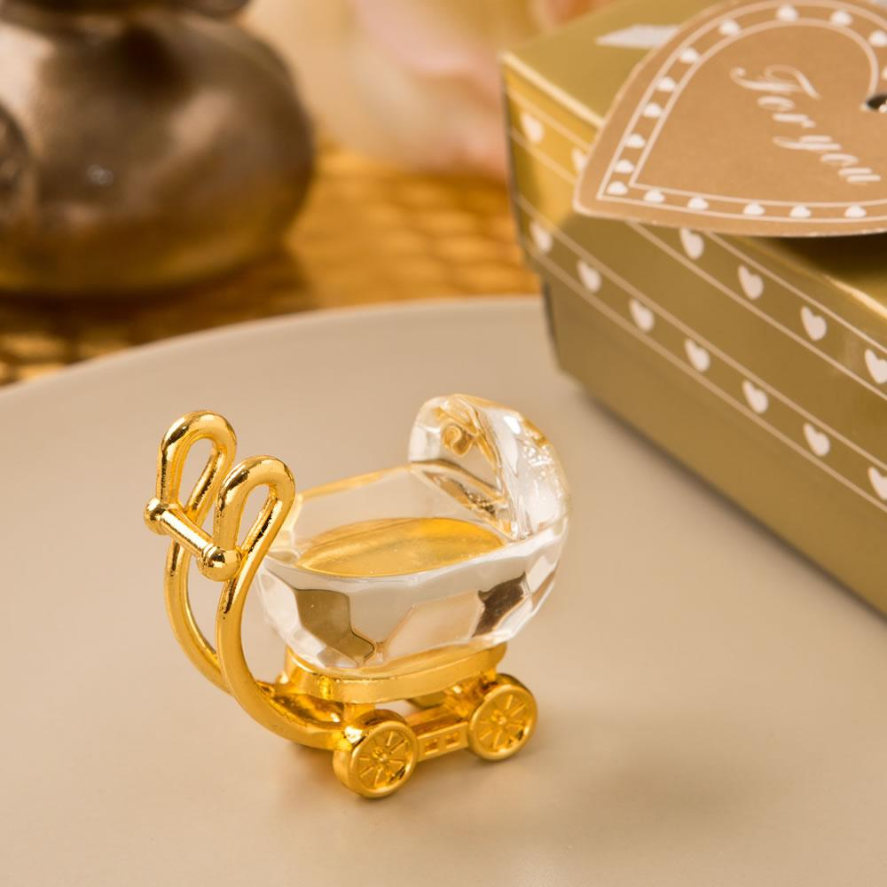 Wholesale- 2016 Golden Color Crystal Collection Baby Carriage with Gift Box Christening Favor Baby Shower Gift Birthday Present
