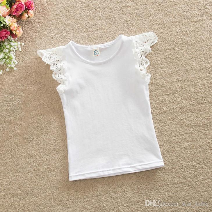 2016 Summer Baby girls Cotton T-shirt Lace Puff Sleeves Summer Top Vest Singlet Fashion Hollow Shoulder Strap Vest Sleeveless K7190