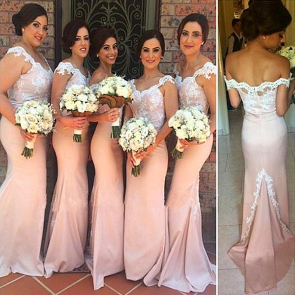 Neue Ankunft Bridemaids Kleider elegant von der Schulter Spitze Appliques Mermaid Brautjungfer Hochzeitsfeier Formale Kleider mit Sweep-Zug