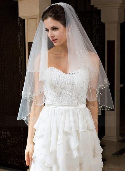 New Style Bridal Veils Barato Frete grátis Best seller Duas Camadas Cotovelo Comprimento Frisado Borda Véu Do Casamento