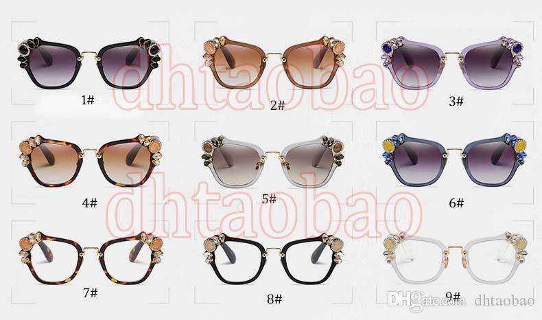 Moq=2017 New Summer Women Fashion Exquisite Diamond Beautiful Floral Sunglasses Driving Beach Glasses UV400