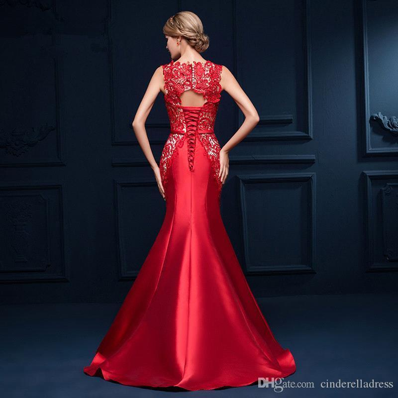 Elegant Red Carpet Formal Evening Dresses Boat Neck Mermaid Lace Sheer Backless Lace Up Appliques Satin Vestidos Cheap Prom Dress CPS385