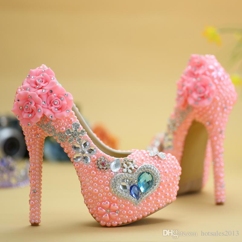 Blue Diamond Pink Pearl High Heel Hochzeitsschuhe Adult Ceremony Party Ball Schuhe Neue Designer Strass Graduation Prom Pumps