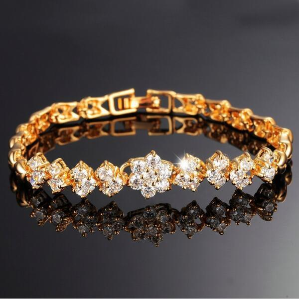 2d9550fb25f 2019 Infinity New Fashion 18K Real Gold Bracelets For Women Luxury White  Stones Zirconia Wedding Jewelry Bangle Wholesale Accessories From  Loveli2014, ...
