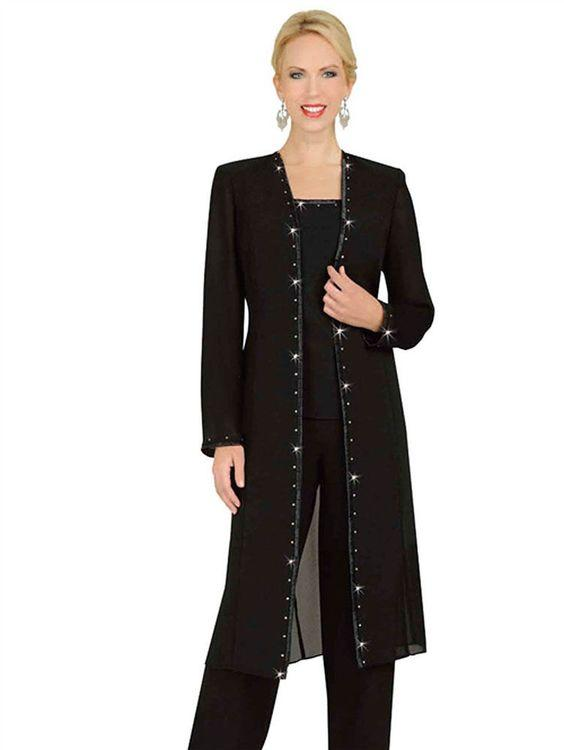 Designer Mother Chiffon Pant Suits Mother Of The Bride Pant Suits with Long Jacket vestidos de fiesta Elegant Evening Party Wear