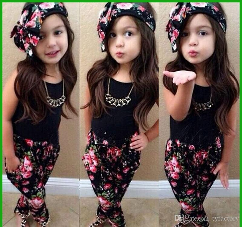 fashion style hot selling girls black t-shirt short sleeve floral pants with flower heascraf three-pieces girls clothing suits