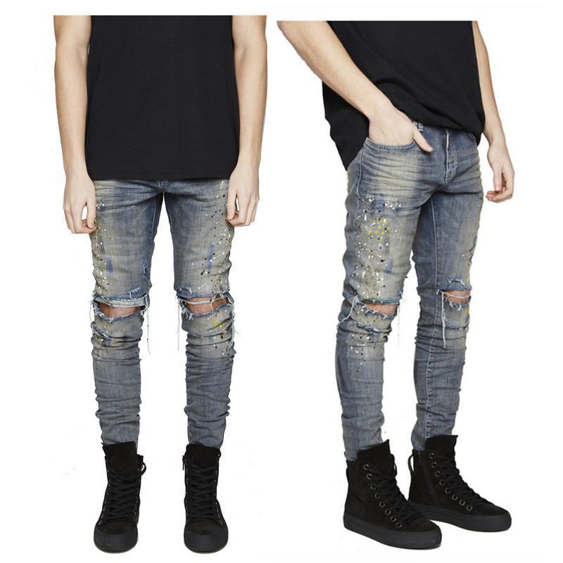 Mens skinny denim biker jeans