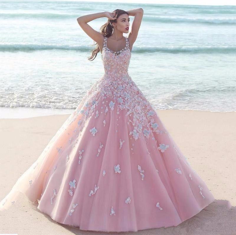 Discount A Line Wedding Dresses Elegant Beautiful Small Piece Flower Lace Appliques Straps Pink Color Dress 2017 Bridal Gowns Modern