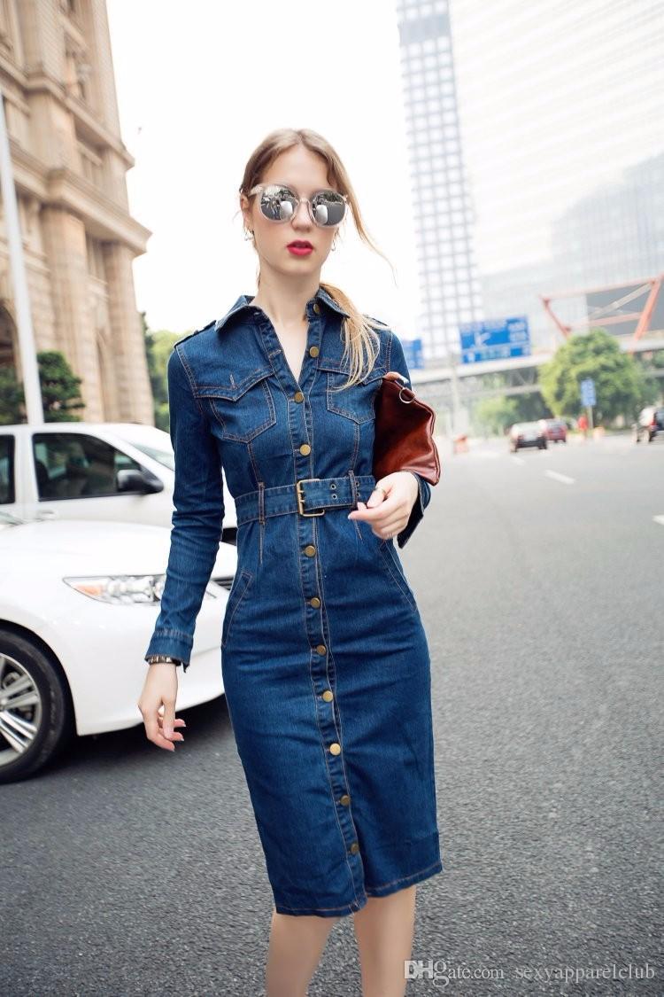 Yeni Varış 2016 Sonbahar Kadın Elbise Uzun Kollu Tek Göğüslü Ince Bel Kot Uzun Elbise Vintage Turn Down Yaka Boy Casual Elbise