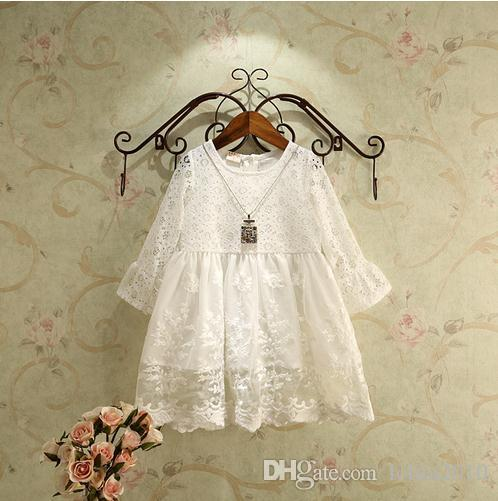 New 2016 Baby Girls long Flare sleeve white Sweet Princess party Dresses Fashion autunm Children spring dress one piece hollow lace dresses