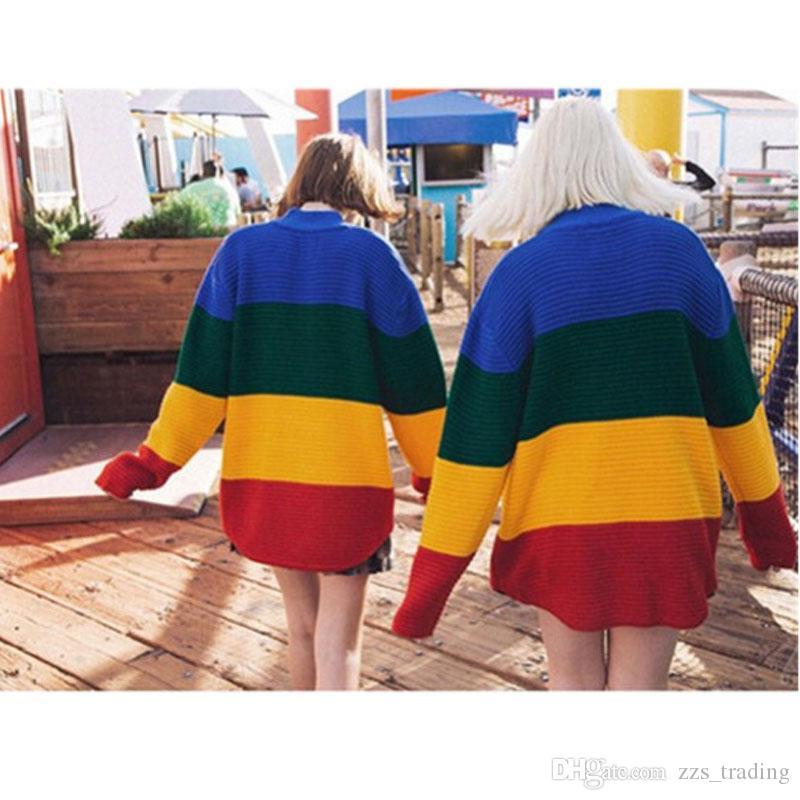 2017 sonbahar ve kış renk çizgili kazak modelleri kadın kafa uzun annelik elbise gevşek büyük boy