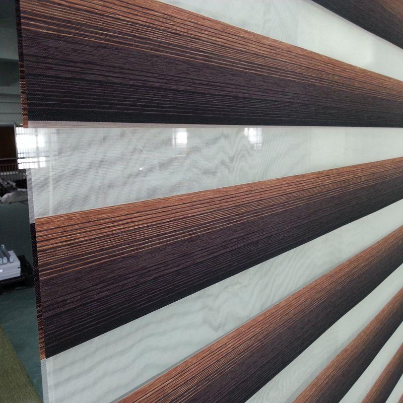 Custom Made Translucent Roller Zebra Blinds in Brown 100%Polyester Linen Window Curtains for Living Room