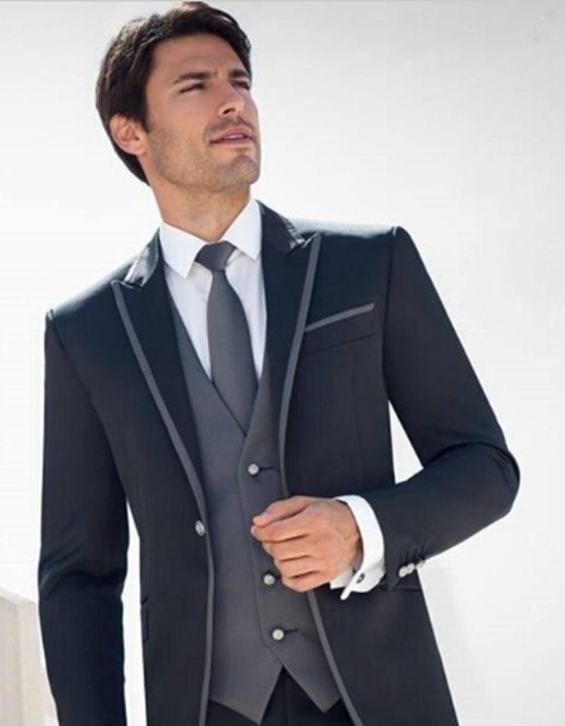 The Cheapest Price High Quality Blue Mens Suits Groom Tuxedos Groomsmen Wedding Party Dinner Best Man Suits jacket+pants+tie W:30 We Take Customers As Our Gods