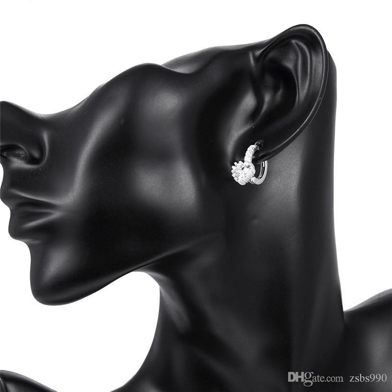 Il regalo caldo di cerimonia nuziale dei monili di modo degli orecchini della vite prigioniera del diamante dell'argento sterlina del cuore dell'argento sterlina 925 la donna Trasporto libero di qualità superiore