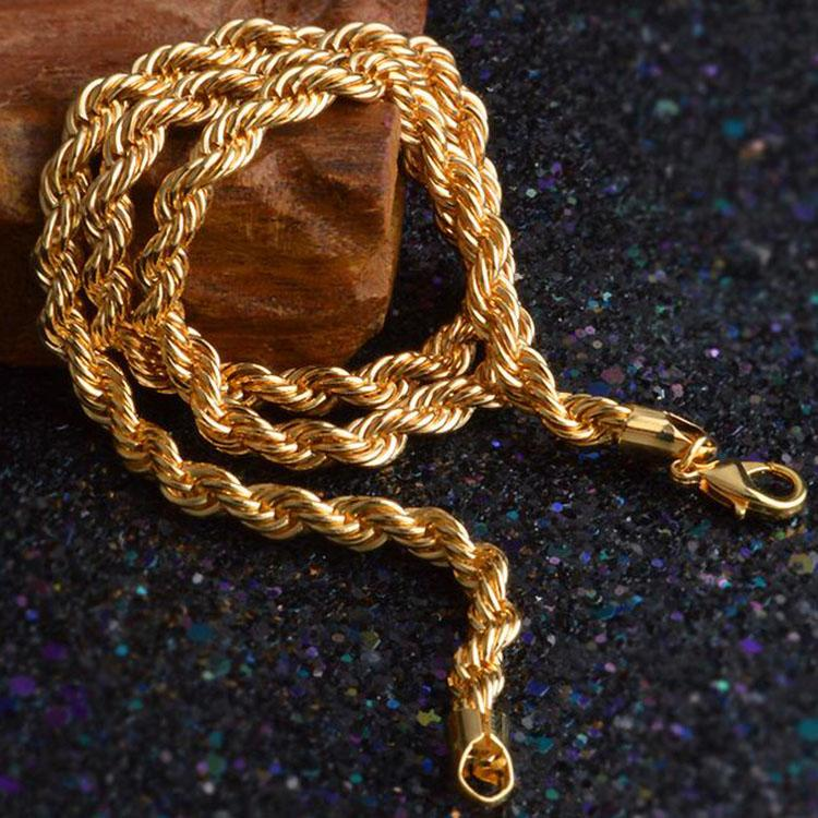 c81a325b52e9 2019 Gold Chains Necklaces Hot Sale 6mm 18K Golden Rope Chain Men Necklace  Fashion Jewelry Wholesale 0184YDHX From Huwanny